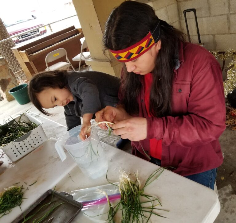 prepping wild onions